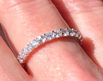 Details about  /.30 TCW Thin Round Cut CZ Stackable Eternity Wedding Band Ring 925 Silver SZ 4.5