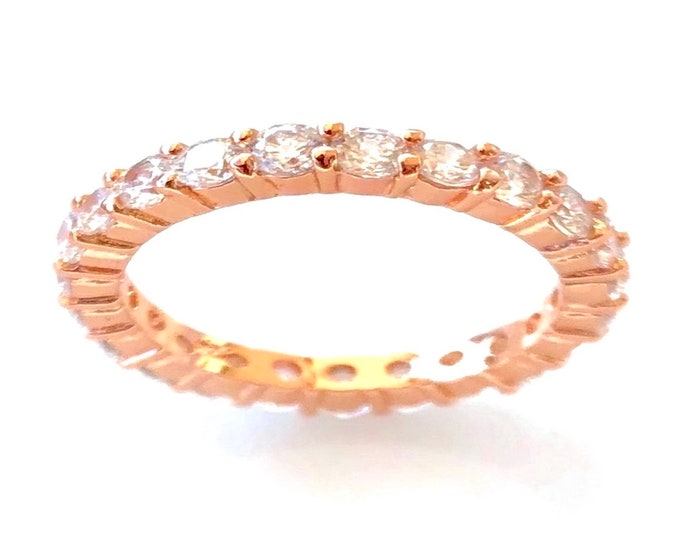 3 mm Round CZ Rose Gold Stackable Eternity Bridal Wedding Band Ring Size 5