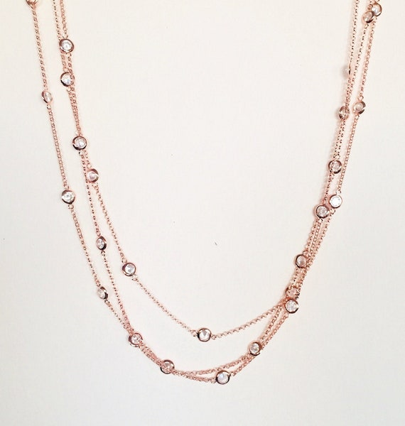 Bezel Eternity Cz By The Yard Available 3 Colors .925 Sterling Silver Necklace