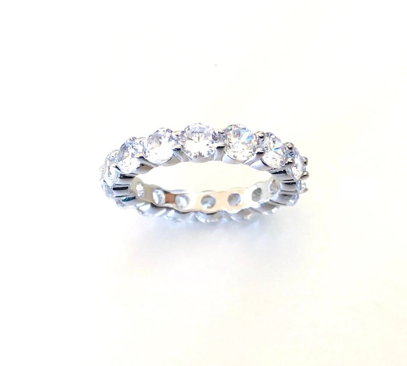 Yellow Gold Plated Cz Eternity Band .925 Sterling Silver Ring Sizes 4-11