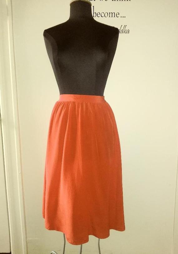 70s Vintage Red Silk Skirt
