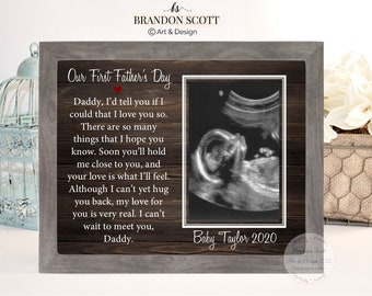 Father/'s Day Gift New Dad Gift First Father/'s Day Gift For Dad  {Promoted To Daddy}  Picture Frame Baby Announcement Gift For Husband