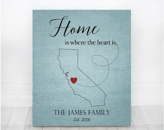 Home Is Where the Heart Is Sign, Wedding Gift, Housewarming Gift, Personalized Family State Sign, State Sign, New Home Gift, Custom States