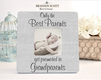 Pregnancy Reveal, Mom Gift, Dad Gift, Grandparent Frame, The Best Parents Get Promoted To Grandparents Personalized Picture Frame