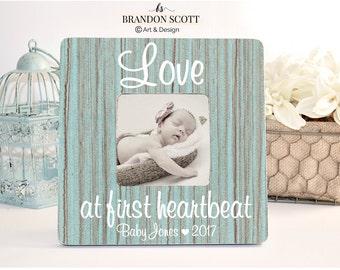Love at First Heartbeat, Sonogram Frame, Ultrasound Frame, Gender Reveal, New Baby Frame, Love at First Sight frame