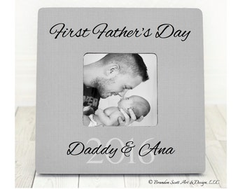 First Father's Day Gift Picture Frame Personalized Gift for New Dad Daddy Happy First Fathers Day Frame for Daddy to be