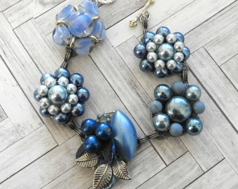 Blue Bracelet Upcycled from Vintage Button Faux Pearl & Glass Earrings Blues and Silver