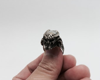 Masked Predator Head stering 925 silver ring