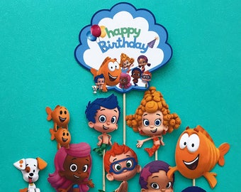 Bubble Guppies cupcake toppers, Bubble Guppies birthday, Bubble Guppies cake topper, Bubble guppies party, Mr. Grouper, Deena, Gil, Goby