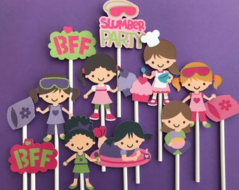 Slumber party cupcake toppers, 12 slumber party toppers, girls slumber birthday, sleep over party, slumber party