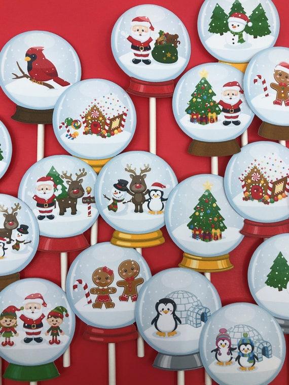 Christmas Cupcake Toppers.Snow Globe Cupcake Toppers Snow Globe Toppers Christmas Cupcake Toppers Christmas Party Toppers Santa Toppers Christmas Cake Topper