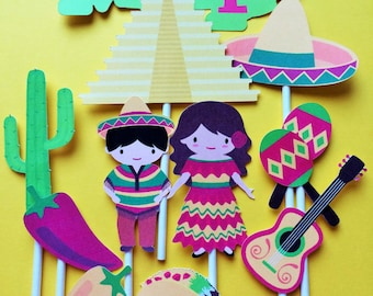 Mexican Cake Toppers Etsy
