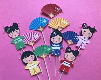 Kokeshi Dolls cupcake toppers, Japanese Kokeshi dolls toppers, Kokeshi dolls party, Japanese dolls cupcake toppers, doll cake topper