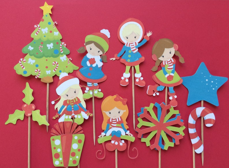 Christmas Cupcake Toppers 11 Christmas Girls Cupcake Toppers Christmas Toppers Christmas Tree Topper Winter Girls Christmas Gift Topper