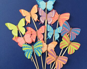 Butterfly cupcake toppers, 12 butterfly cupcake toppers, butterfly cake toppers, butterflies, spring cupcake toppers, beautiful butterflies