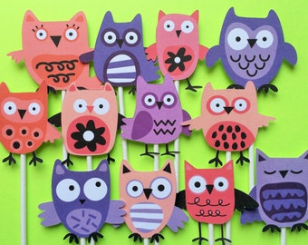Owl cupcake toppers plus bonus, 12 owl cupcake toppers, owl toppers, owl party supply, owl party theme, owl cake topper, birthday owls