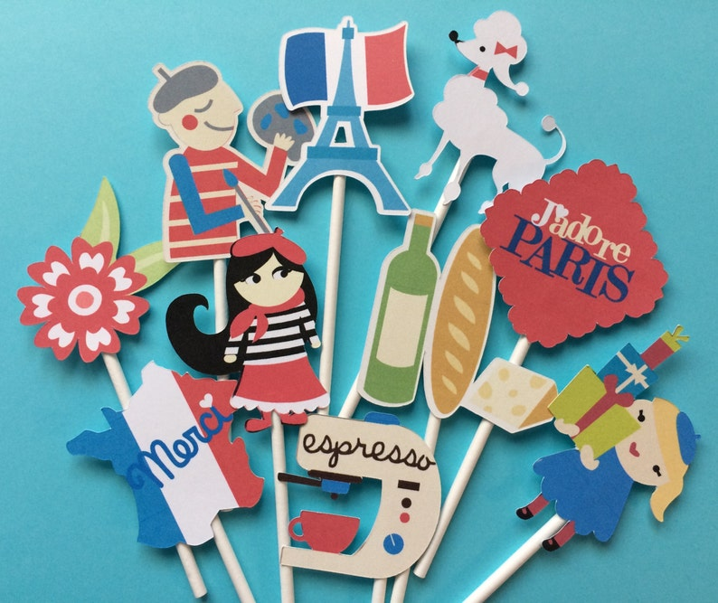 Paris French Cupcake Toppers Paris Party Toppers Paris Etsy