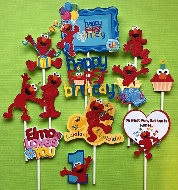 Elmos First Birthday Cupcake Toppers 12 Sesame Street