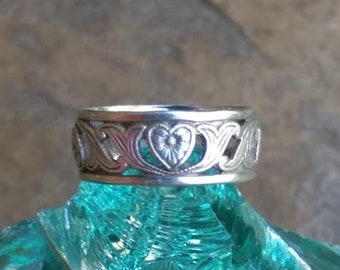 Art nouveau sterling wedding band, art nouveau ring, antique heart band, sweetheart ring, antique sterling wedding band