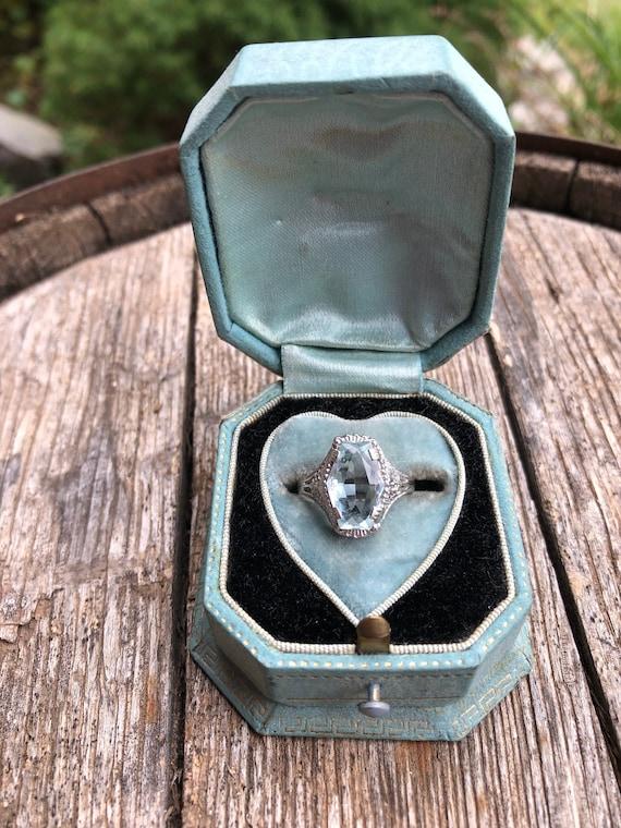Antique aquamarine ring, Art Deco aquamarine ring,