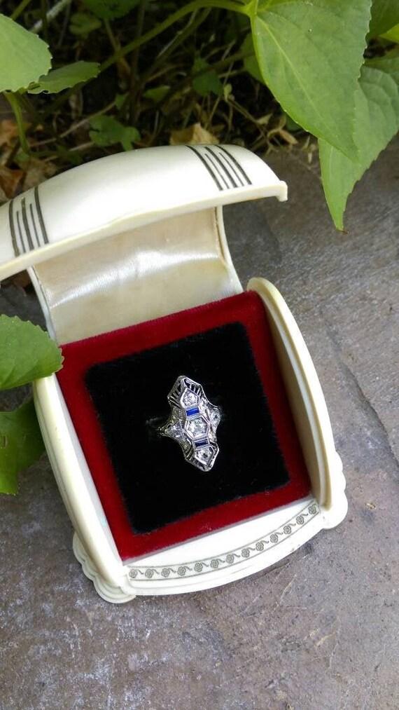 Art deco ring box, antique ring box, two tone ring
