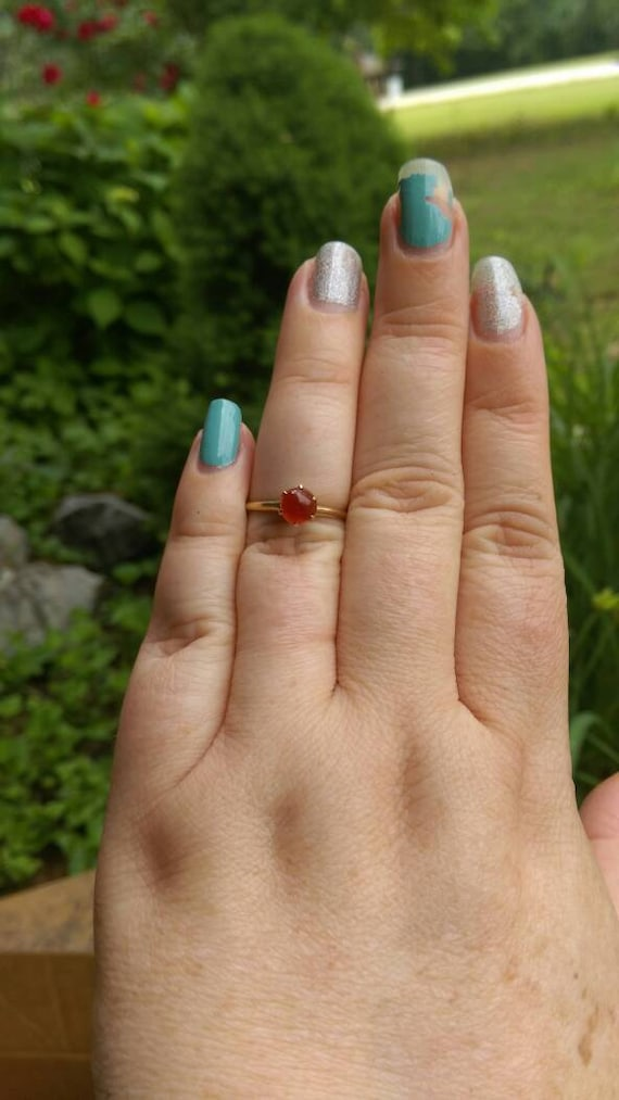 Victorian carnelian ring, Victorian claw set ring… - image 6