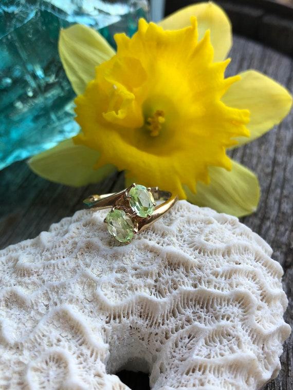 Toi et moi ring, Green Spinel ring, Vintage green