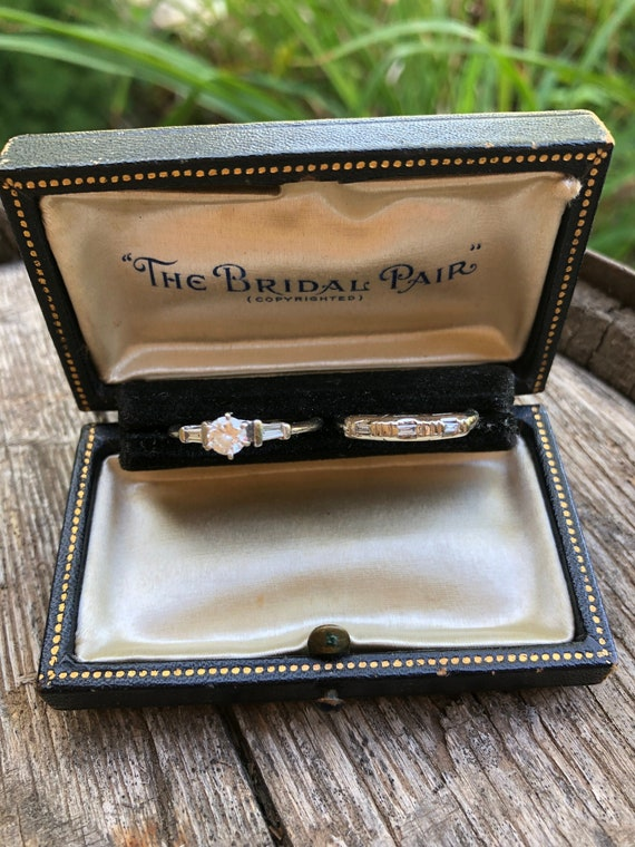 Antique leather ring box, tooled leather ring box,