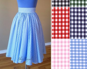 Blue gingham skirt, 50s vintage inspired, custom made, knee length, high waisted, full circle