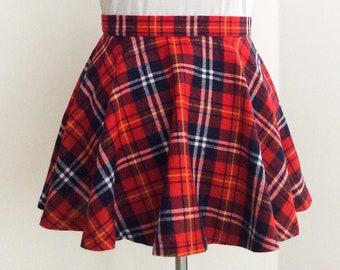12e0ebcddd Flannel plaid skirt, made to order, red skater skirt, high waisted, full  circle, lolita plaid skirt, flannel cotton, plus size skirt