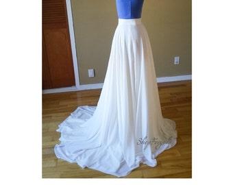 Maxi chiffon skirt, short train,boho weddings,custom order,bridal flowy skirt, plus size,long white skirt, sweep brush train, floor length