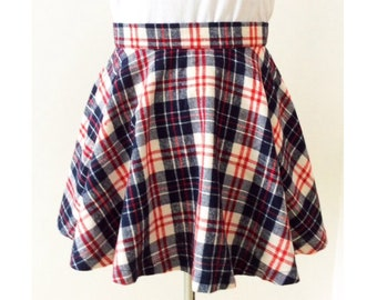d5a857894d Flannel plaid skirt, made to order, above knee length, navy checked skirt,  school girl cosplay, plus size clothing, high waisted