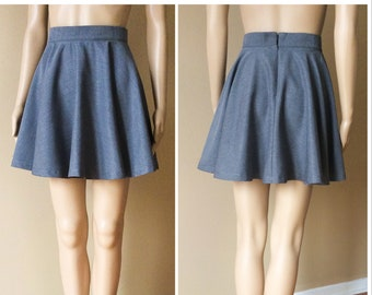 367cfbb8ee Charcoal gray skirt, made to order, above knee length, side seam pockets,  short summer skirt, polyester gabardine, plus size available