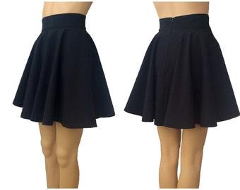 Black skater skirt, made to order, grunge clothing, high waisted, full circle skirt, plus size skirt, girls micro skirt