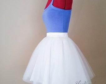 ba0277e7a093 White Tulle skirt, bridesmaids skirts, short wedding tutus, custom order,  mini micro skirt, layered Tulle, bridal party, satin waist band