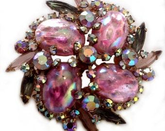 Prong Set, Regency, Pink and Aurora Borealis Rhinestone Brooch