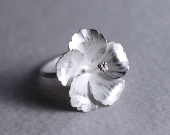 Silver Hibiscus Ring | Real Flower Ring | Botanical Ring | Flower Ring Band | Nature Inspired Ring | Gift for Her | Bridal Jewelry