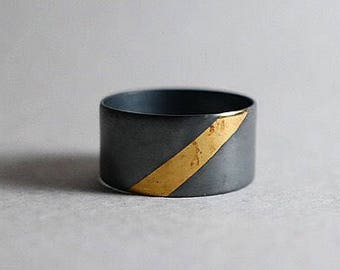 Silver and Gold Wide Ring   Oxidized Silver Ring   Keum Boo Ring   Wide Band   Modern   Contemporary   Minimal   Gold Foil   Stripe   Thick