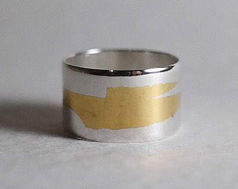 Silver and Gold Ring | Keum Boo | Sterling Wide Ring | Tube Ring | Modern | Contemporary | Minimalist | Valentines Gift | 24k gold