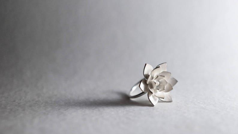 Lotus Ring Silver Lotus Ring Flower Ring Botanical Ring Etsy