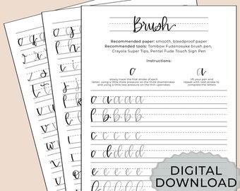 Brush Lettering Practice Worksheet - Digital Download - Printable - Digital iPad Worksheet