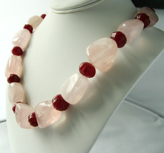 Beautiful Rose Quartz Carved Ruby Sterling Silver Necklace Free shipping