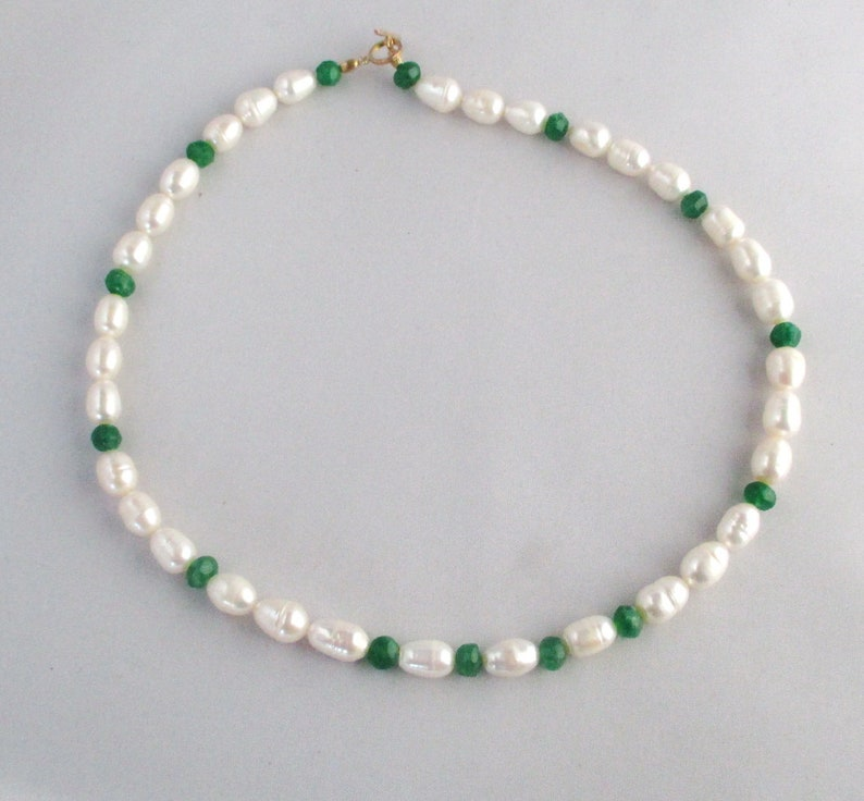 Sterling Silver Huge Freshwater Pearls Emerald Necklace