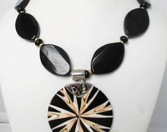 Free Shipping. Black Agate Black Onyx Inlay Mother of Pearl Pendant Necklace