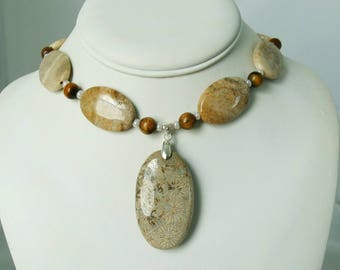 Beautiful Fossil Coral Pendant Sterling Silver Necklace