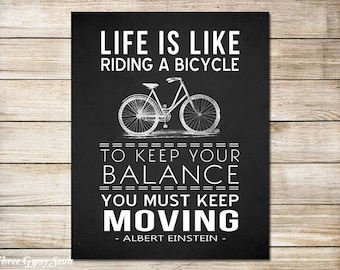 PRINTABLE ART Bicycle Wall Art Life Is Like Riding A Bicycle Wall Decor Albert Einstein Quote Motivational Art Bicycle Art Bike Wall Art