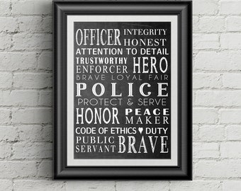 Police Officer Gift  Law Enforcement Officer Gift Police Wall Art Wall Decor Definition of Police Officer Retirement Gift