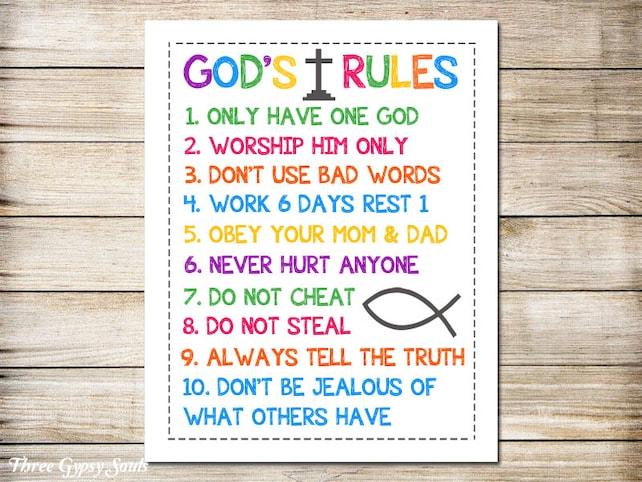PRINTABLE ART Ten Commandments Christian Wall Art 10 | Etsy