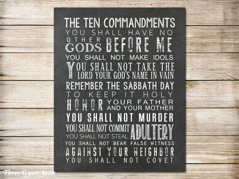 afdrukbare art tien geboden bijbel vers exodus 20 10 geboden | etsy