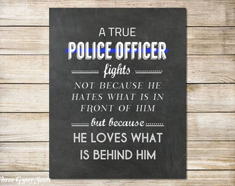 PRINTABLE Art Police Officer Gift Thin Blue Line Police Officer Quote Police Wall Art